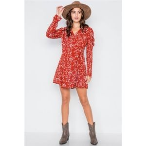 New arrival. Red floral wrap dress